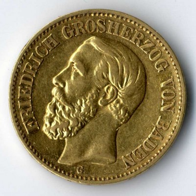 Goldmünze aus Baden zu 10 Mark, ein Auktionslos beim Münzenhändler Torsten Hornung