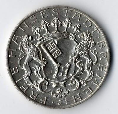 Silbermünze aus Bremen für eine Münzenauktion in Wiesbaden.
