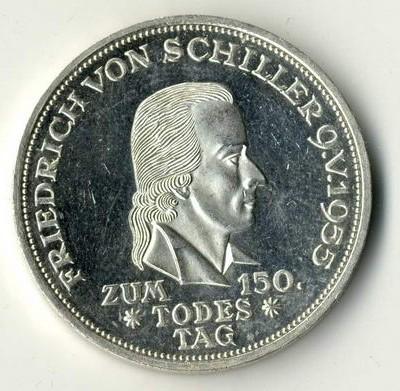 Immer gesucht und stets mit höheren Bewertungen versehen ist die Schiller Gedenkmünze der Bundesrepublik Deutschland.
