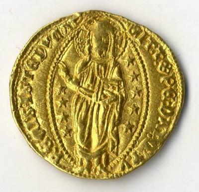Goldmünzen aus vielen Jahrhunderten beim Münzenhändler in Wiesbaden.