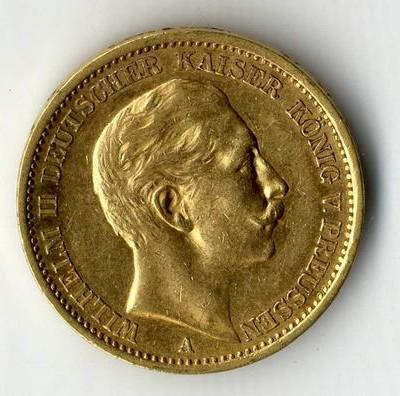 Goldmünzen des Kaiserreichs wie dieses 20 Mark Stück nicht sauber putzen.