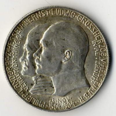 Kaiserreich, 5 Mark Hessen Ernst Ludwig, 1904, erfolgreich in Kommission verkauft.