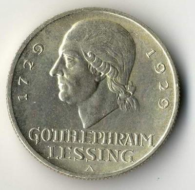 Lessing 5 Mark Münze im Rahmen eines Münzensammlungsverkauf in Kommission.