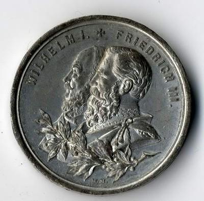 Silbermedaille aus Preussen mit Wilhelm II und Friedrich III.