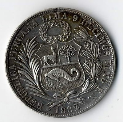 Silbermünze aus Erbschaft aus Peru von 1882.