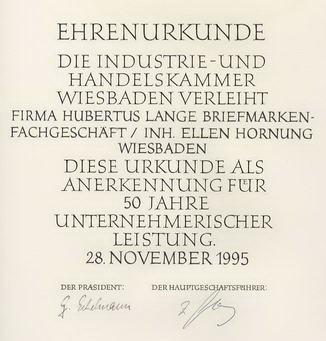 Ehrenurkunde der IHK Wiesbaden für Hornung.