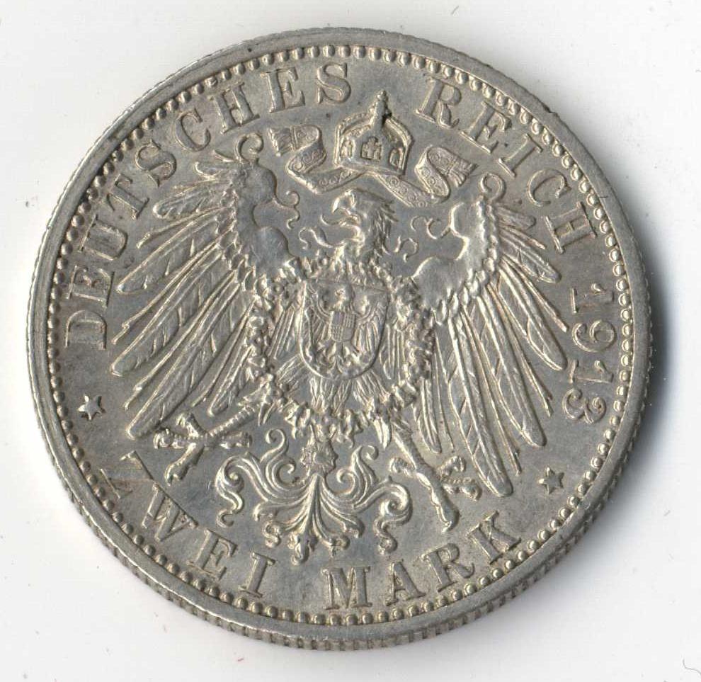 BADEN, Friedrich II., 2 Mark 1913 G Rückseite