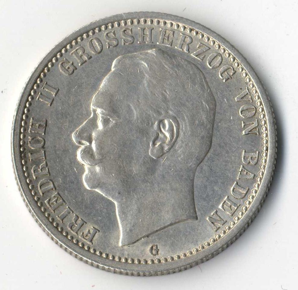 BADEN, Friedrich II., 2 Mark 1913 G, Jaeger-Katalog