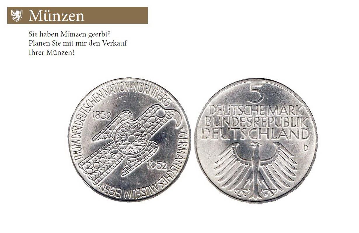 Das Germanische Museum ist die erste 5 DM Gedenkmünze der Bundesrepublik Deutschland