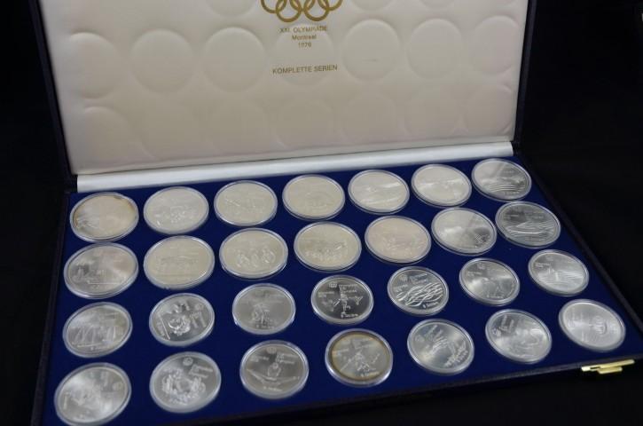 Die Silbermünzen Olympiade Montreal Aus Dem Jahr 1976