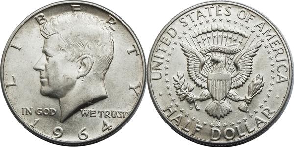 Die Kennedy Halb Dollar Silbermünze Von 1964