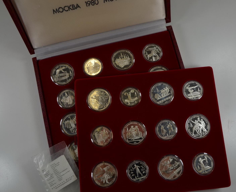 Russland Olymoiade Moskau rote Kassette mit 28 Silbermünzen Polierte Platte
