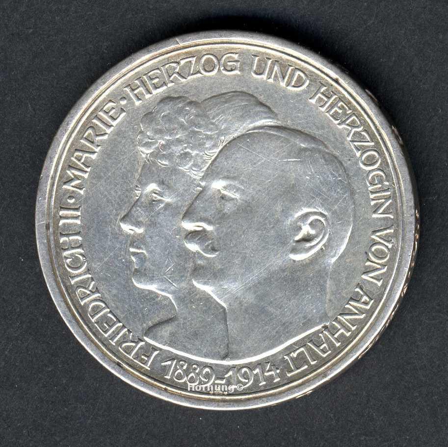 Herzogtum Anhalt Silbermünze zu 3 Mark aus dem Jahr 1914 Hochzeit
