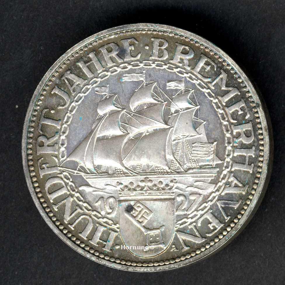 Bremerhaven Münze der Weimarer Republik zu 5 Mark aus dem Jahr 1927
