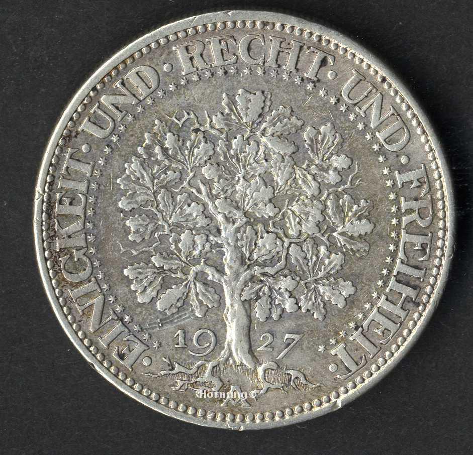 Weimarer Republik Eichbaum Silbermünze zu 5 Mark aus dem Jahr 1927