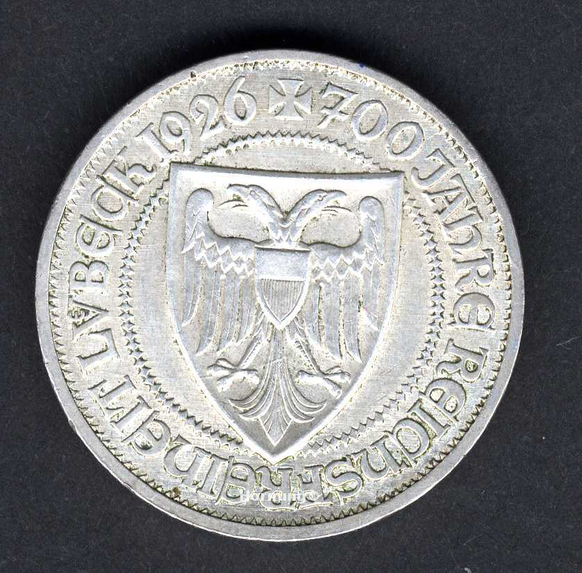 Lübeck SilberMünze zu 3 Mark aus dem Jahr 1926 der Weimarer Republik