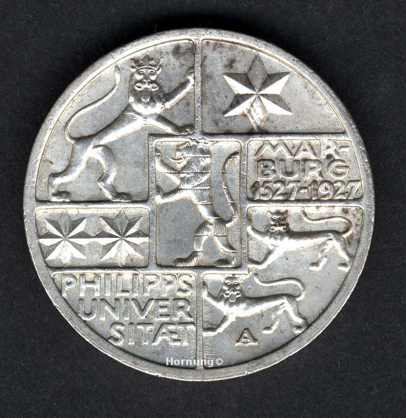 Marburg Silbermünze zu 3 Mark aus dem 1927