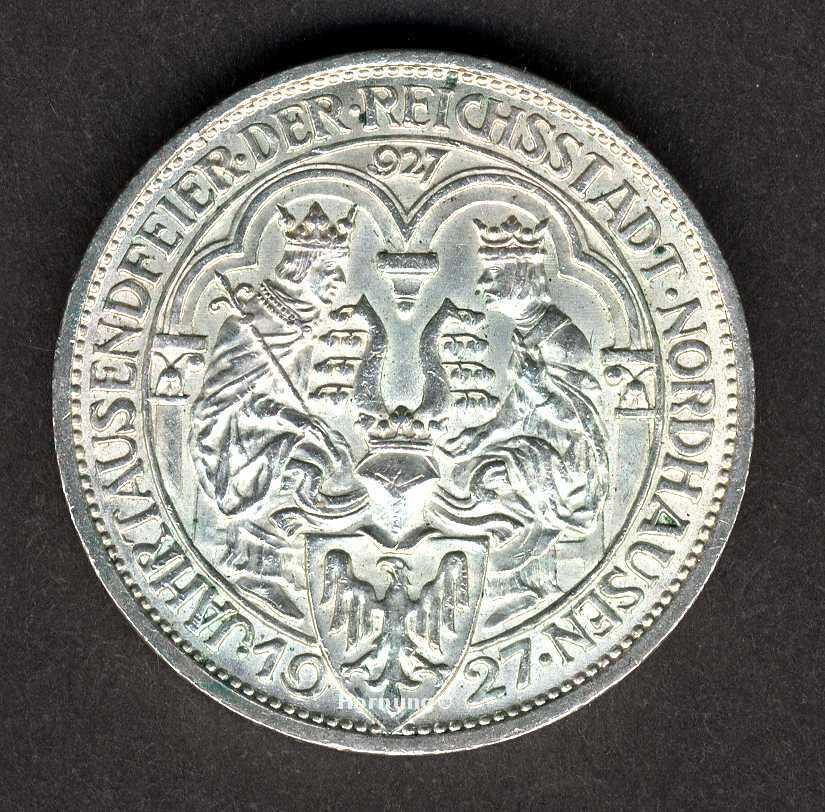 Nordhausen Silbermünze zu 3 Mark aus dem Jahr 1927