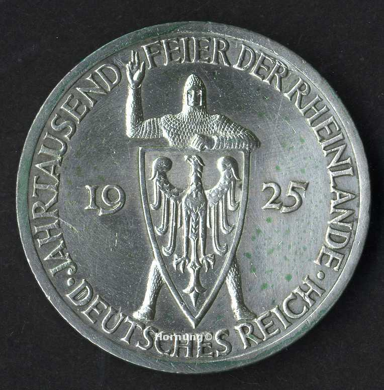 Rheinlande Silbermünze der Weimarer Republik zu 3 Mark aus dem Jahr 1925
